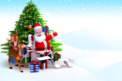 Santa claus with a big gift list Royalty Free Stock Images