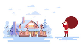 Santa Claus With Big Gift Sack Coming To House Happy New Year Merry Christmas Banner Stock Image