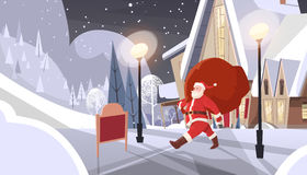 Santa Claus With Big Gift Sack Coming To House Happy New Year Merry Christmas Banner Royalty Free Stock Photos