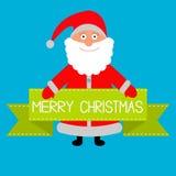 Santa Claus and big green ribbon. Merry Christmas card. Royalty Free Stock Image