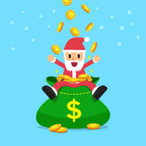 Santa claus with big money bag Royalty Free Stock Photography