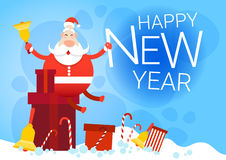Santa Claus With Big Present Box Christmas Holiday Happy New Year Greeting Card Royalty Free Stock Images
