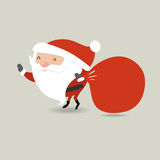 Santa Claus with big red sack.  holding presents bag. Royalty Free Stock Photography