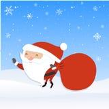 Santa Claus with big red sack. Santaholding presents bag. Royalty Free Stock Photo