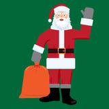 Santa claus with big sac of gifts . Flat color Royalty Free Stock Images