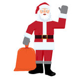 Santa claus with big sac of gifts isolated. Flat color Royalty Free Stock Photography
