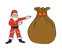 Santa Claus & a big sack Stock Images