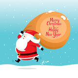 Santa Claus With Big Sack Running quickly. Merry Christmas Xmas Happy New Year Objects Festive Celebrations Royalty Free Stock Images
