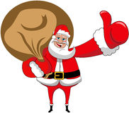 Santa Claus Big Sack Thumb Up Xmas Isolated Stock Photo