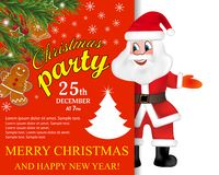 Santa Claus with big signboard Christmas Party. Holiday greeting card. Merry Christmas and Happy New Year showing billboard. Vecto. R illustration royalty free illustration