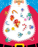 Santa Claus with big white beard. Gifts and toys for kids poking Royalty Free Stock Images