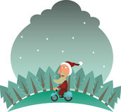 Santa Claus on bike Stock Images