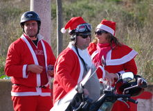 Santa claus bike parade 2011 Stock Photo