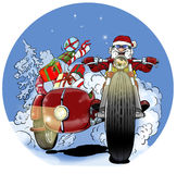 Santa Claus biker. With christmas gifts in the sidecar motorcycle Stock Photos