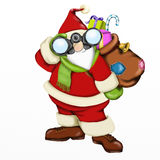 Santa Claus with binoculars Royalty Free Stock Photography