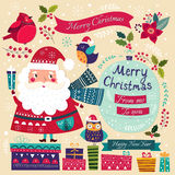 Santa Claus, birds and gifts Stock Photos