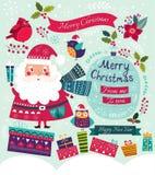 Santa Claus, birds and gifts Royalty Free Stock Image