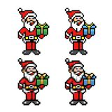Santa claus 8-bit pixel art style collection. Vector illustration stock illustration