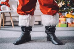 Santa claus in black boots Stock Photo