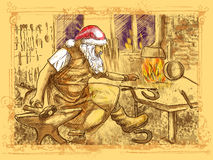 Santa Claus - blacksmith. Full-sized (original) hand drawing. Christmas theme. Santa Claus in the smithy manufactures horseshoes (for his reindeer vector illustration