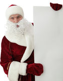 Santa Claus with blank banner Stock Photo