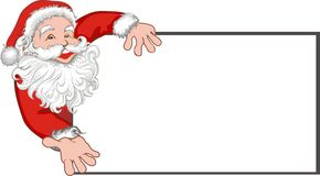 Santa claus with a blank billboard. Christmas card with santa claus image Royalty Free Stock Images