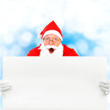 Santa Claus with Blank Board Stock Photo