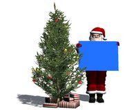 Santa Claus with blank poster in blue Stock Photography