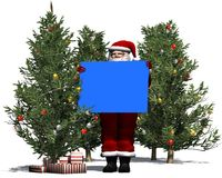 Santa Claus with blank poster in blue Stock Photos