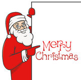 Santa claus with blank sign 01. Santa claus holding blank sign, showing something by his index finger Royalty Free Stock Image