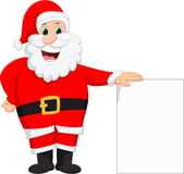 Santa claus with blank sign. Vector illustration of santa claus with blank sign isolated on white Stock Image