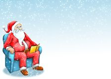 Santa claus with blue background. Sitting santa claus on blue snow background Royalty Free Stock Images