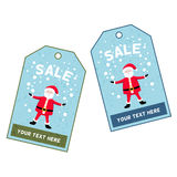 Santa Claus on a blue background. Christmas tag with a picture of Santa Claus royalty free illustration