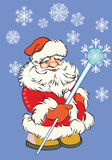 Santa Claus on a blue background stock illustration
