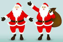 Santa Claus. On Blue Background, Vector and Illustration Royalty Free Stock Images