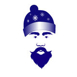 Santa Claus in a blue cap. The man in a hat. Blue with snowflakes Stock Image