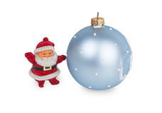 Santa claus and blue Christmas ball. Isolated on white background Royalty Free Stock Photos