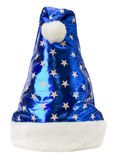 Santa Claus blue hat isolated on the white background Royalty Free Stock Photo