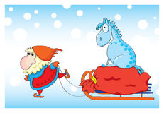 Santa Claus and blue horse 2014 Royalty Free Stock Images