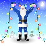 Santa Claus in a blue suit is holding a New Year`s illumination garland in his hands. stock illustration