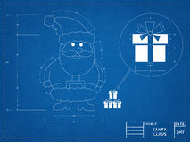 Santa Claus - Blueprint Royalty Free Stock Images