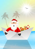 Santa Claus on boat Stock Photography