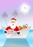 Santa Claus on boat Royalty Free Stock Image