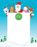 Santa Claus, bonhomme de neige et animaux avec le signe vide illustration stock