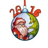 Santa Claus in bont-boom stuk speelgoed 2016 Vrolijke Kerstmis Royalty-vrije Stock Afbeelding