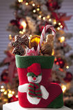 Santa Claus boot full with christmas goodies close up christmas tree in background Royalty Free Stock Photos