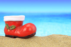 Santa claus boot ornament Royalty Free Stock Image