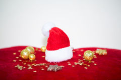 Santa Claus boots with candles and snowmann royalty free stock photo