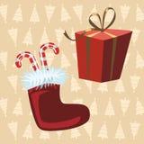 Santa Claus Boots e regalo rosso, fondo giallo con natale illustrazione vettoriale