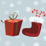 Santa Claus Boots and red gift, gray background with snowflakes,. Happy new year 2017. Vector Image. Christmas Stock Image